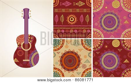 Bohemian, Tribal, Ethnic background with guitar illustration and patterns