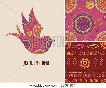 Bohemian, Tribal, Ethnic background with swallow icon and patterns