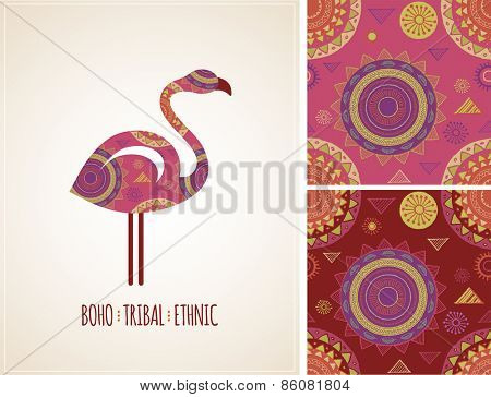 Bohemian, Tribal, Ethnic background with flamingo illustration and patterns
