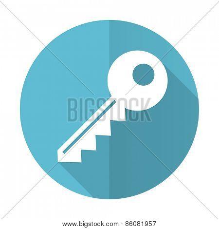key blue flat icon