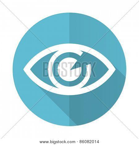 eye blue flat icon view sign