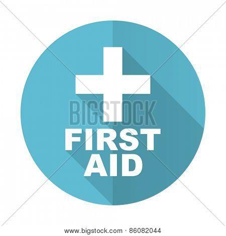 first aid blue flat icon