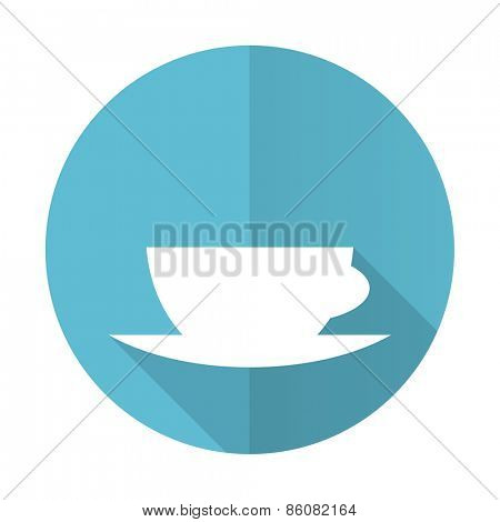 espresso blue flat icon caffe cup sign