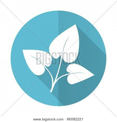 leaf blue flat icon nature sign