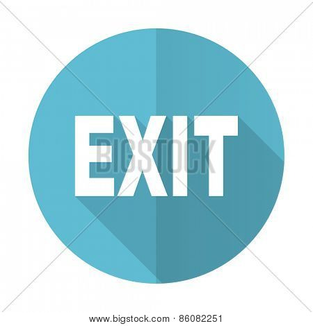 exit blue flat icon