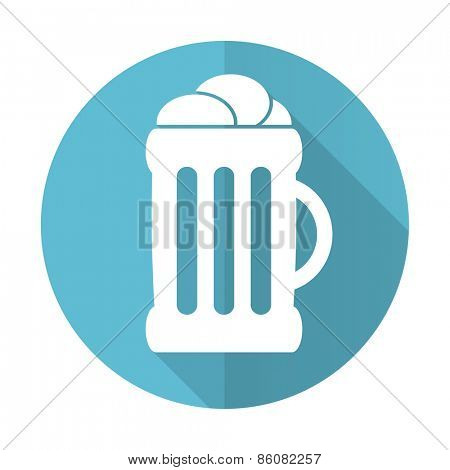 beer blue flat icon mug sign