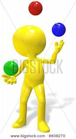 Juggler Cartoon 3D Person  Juggles Rgb Balls
