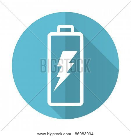 battery blue flat icon power sign