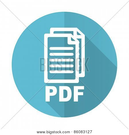 pdf blue flat icon pdf file sign