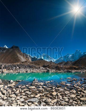 Beautiful mountain view with reflection in Gokyo Lake, Himalayas, Nepal.
