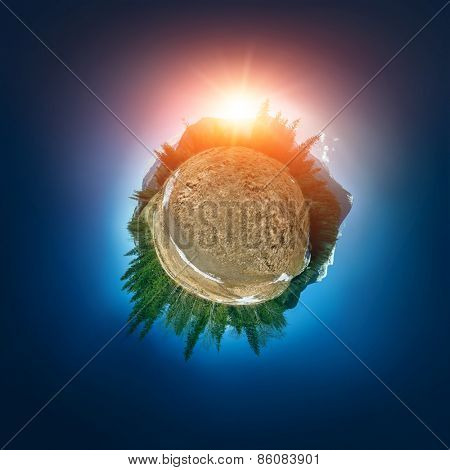 Stereographic projection of Carpathian mountains. 360 degree panorama. Globe panorama.