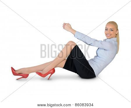 Isolated business woman hold something