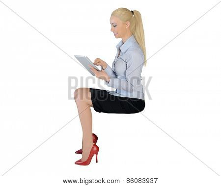 Isolated business woman with tablet pc