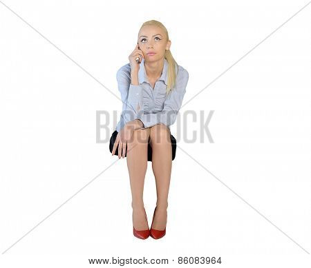 Isolated business woman talk phone