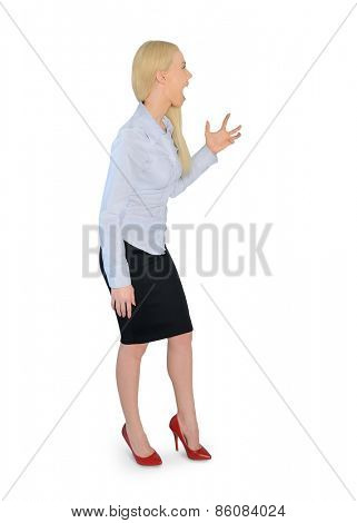 Isolated business woman angry screaming