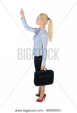 Isolated business woman drag something