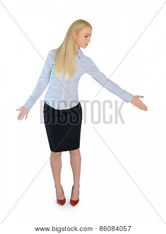 Isolated business woman give help hand