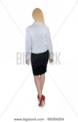 Isolated business woman walk back