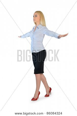 Isolated business woman walk on imaginary rope
