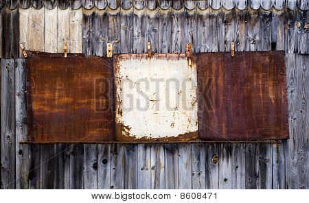 Old Blank Metal Rusty Placard.