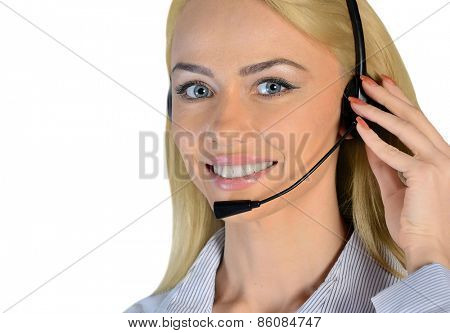 Isolated business woman support call