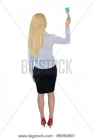 Isolated business woman with paint brush
