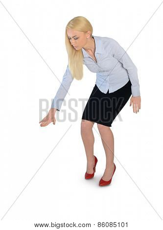 Isolated business woman press something down