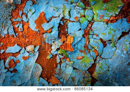 Old surface with cracked paint - abstract background