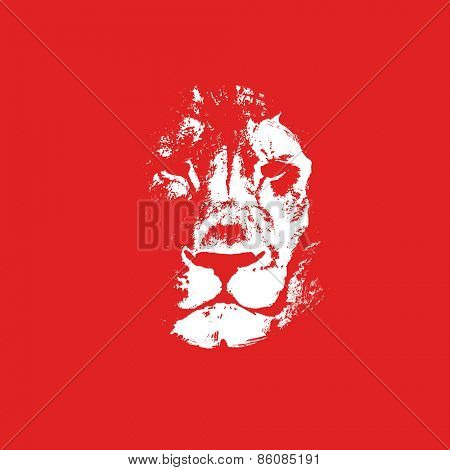 Lion head. Hand drawn. Vector background.