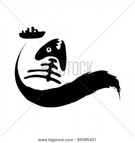 fish bone in in polluted water, Water pollution concept, vector illustration
