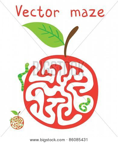 Vector Maze, Labyrinth education Game for Children with ?aterpillar and Apple.