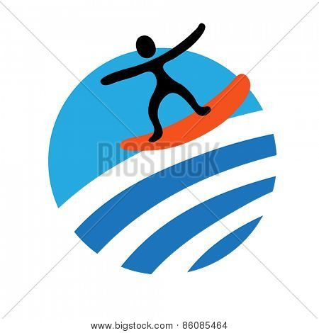 surf, water sport,  vector icon