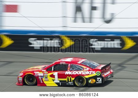 Fontana, CA - Mar 22, 2015:  Jamie McMurray (1) brings his race car through the turns during the Auto Club 400 race at the Auto Club Speedway in Fontana, CA.
