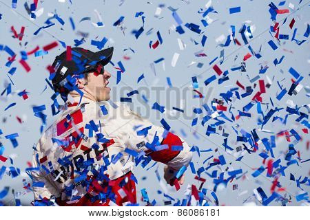 Fontana, CA - Mar 22, 2015:  Brad Keselowski (2) wins the Auto Club 400 race at the Auto Club Speedway in Fontana, CA.