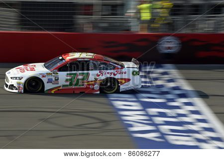 Fontana, CA - Mar 21, 2015:  Mike Bliss (32) takes to the track for the Auto Club 400 at Auto Club Speedway in Fontana, CA.