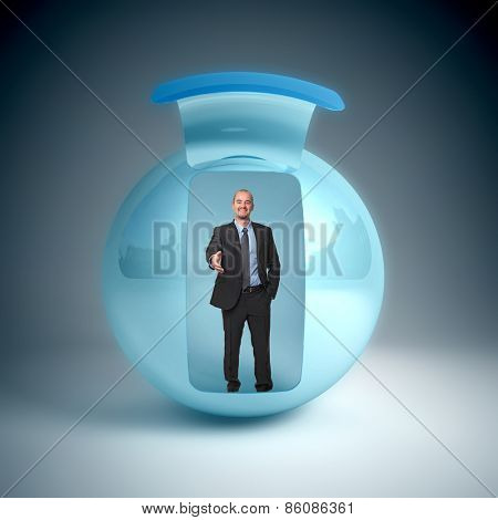 smiling man and glass bubble