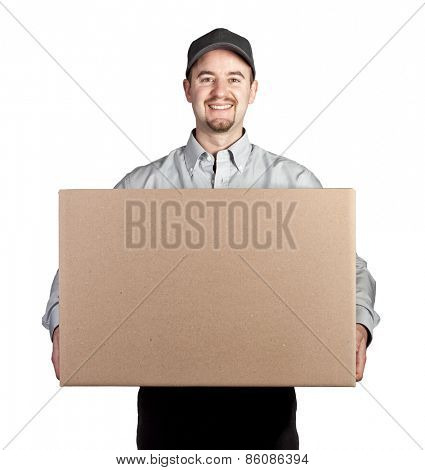 portrait of caucasian delivery man on white background