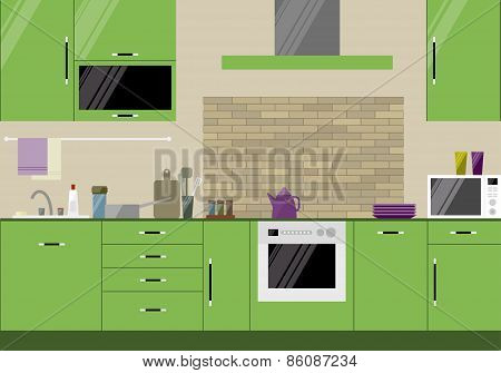 Bright Illustration In Trendy Flat Style With Green Kitchen Interio