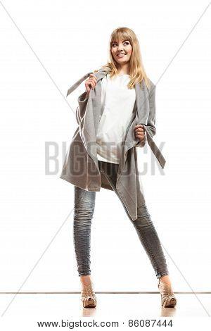 Blonde Elegant Woman In Gray Coat.