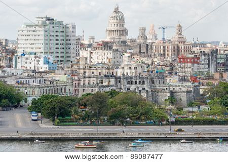 View of Old Havana including the Capitol building and several other landmarks