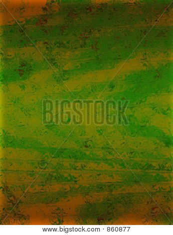 green with gold background