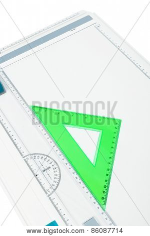 drawing board with a triangle on a white background
