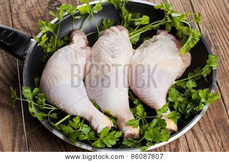 Chicken Legs In A Fry Pan
