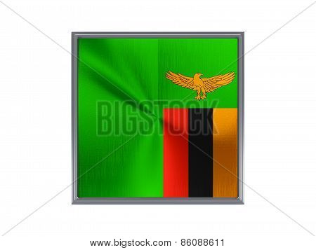 Square Metal Button With Flag Of Zambia