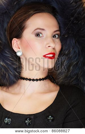 Fashion Woman In Fur Coat, Lady Portrait
