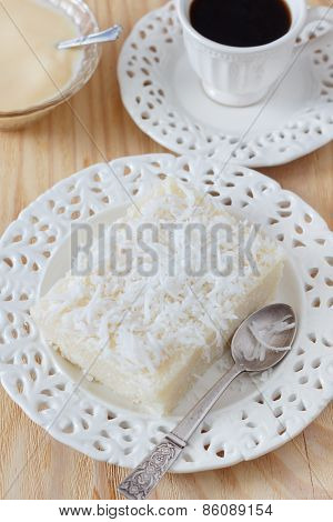 Sweet Cuoscous (tapioca) Pudding (cuscuz Doce) With Coconut, Condensed Milk And Coffee