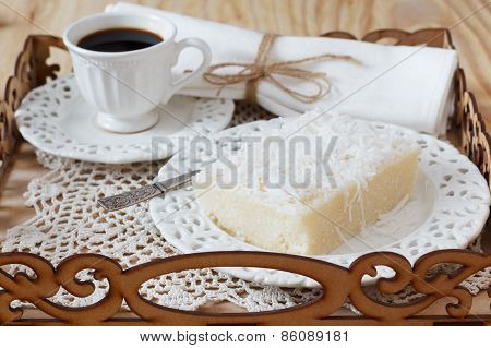 Sweet Couscous Pudding (cuscuz Doce) With Coconut And Cup Of Coffee