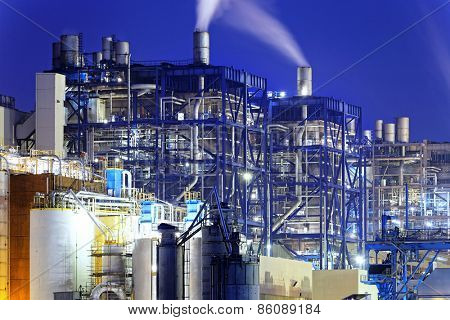 Power Station, oil and fuel tanks in hong kong at night