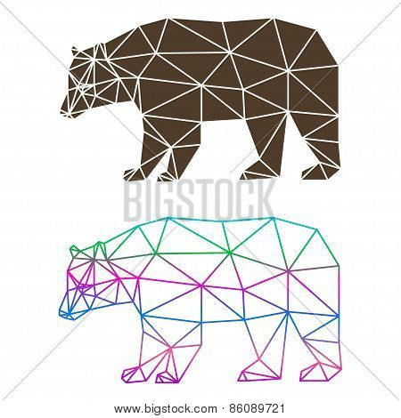 Abstract Geometric Bear Set Isolated On White Background For Design