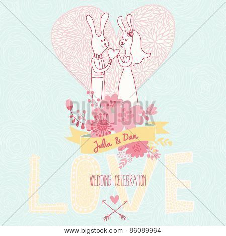Romantic vector card in pastel colors. Couple of rabbits in love on floral background. Great floral Save the Date invitation card